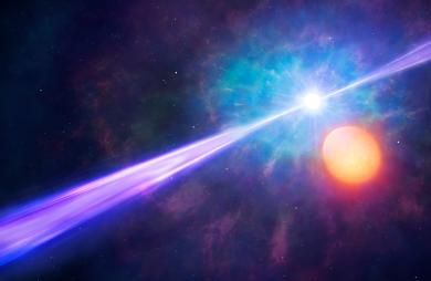 Artist's impression of gamma-ray burst with orbiting binary star. Credit: University of Warwick/Mark Garlick
