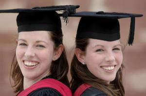 Jessica and Laura Pacey (l-r) both graduated from University of Warwick last week