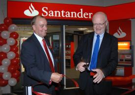 Branch manager Robert Mottershead and Vice Chancellor Professor Nigel Thrift open the new Santander branch on campus