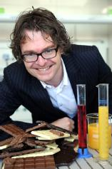 Dr Stefan Cox has found a way to make lower fat chocolate using fruit juice