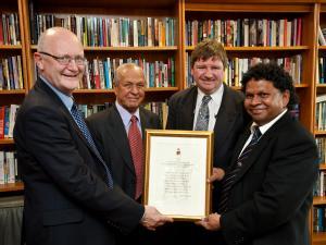 Professor Nigel Thrift, Yesu Persaud, Professor Trevor Burnard  & Professor David Dabydeen (L-R)