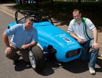 Principal Fellow Steve Maggs (left) and research engineer Stephen Lambert with the hybrid kit car at the University of Warwick