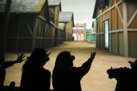 The Westwood school pupils see the 3D model of the Lunt on the WMG pwerwall at the University of Warwick