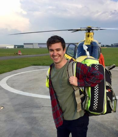 Medical graduate James Thornton during a visit to the Coventry and Warwickshire Air Ambulance base