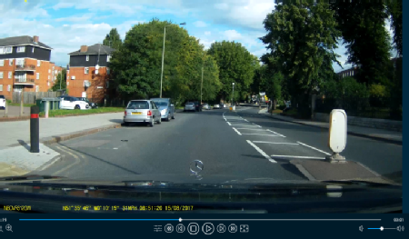 A view from a dashcam replayer