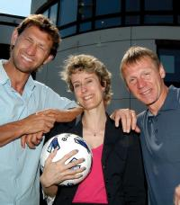Dr Sue Bridgewater with Tony Adams and Stuart Pearce