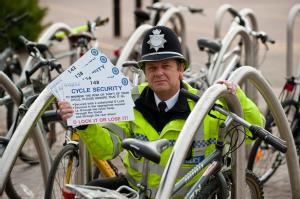 PC Mick Parkes launches a scheme to encourage cyclists at the University of Warwick to register their bicycles and to use D-locks.