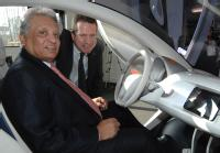 Professor Lord Bhattacharyya (left) and Nick fell (right) with the Pixel car