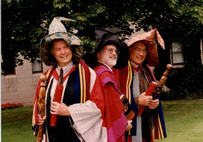 From left Professor Ian Stewart (University of Warwick) and Terry Pratchett and Doctor Jack Cohen (University of Warwick) at the wizard making - image copyright University of Warwick