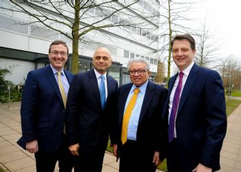 L-R University of Warwick Vice Chancellor, Stuart Croft; Secretary of State for BIS, Rt Hon Sajid Javid MP; Chairman and Founder of WMG, Professor Lord Bhattacharyya; Director Group Engineering Jaguar Land Rover, Nick Rogers