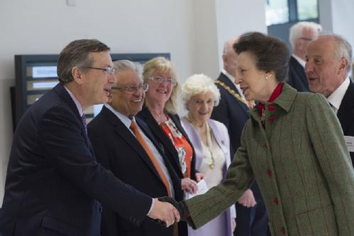 Princess Anne is introduced to the Vice-Chancellor, University of Warwick Professor Stuart Croft at the official opening of the new teaching building the Oculus