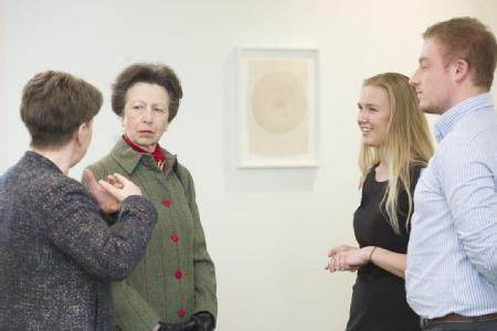 The Princess Royal officially opens University of Warwick's new teaching building and is introduced to Student Union Societies Officer Marissa Beatty and Student Union Officer Ted Crowson by Prof Christine Ennew CBE, Provost University of Warwick