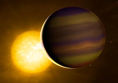 Exoplanet HD 209458b transits its star. The illuminated crescent and its colours have been exaggerated to illustrate the light spectra that the astronomers used to identify the six molecules in its atmosphere. Credit: University of Warwick/Mark Garlick