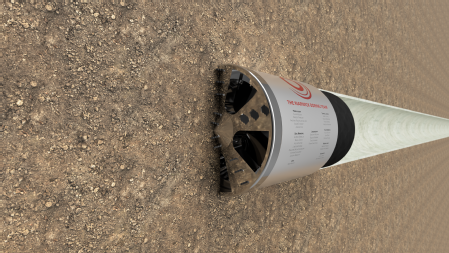 Caption: A render of the Warwick Boring Team's tunnelling device Credit: University of Warwick