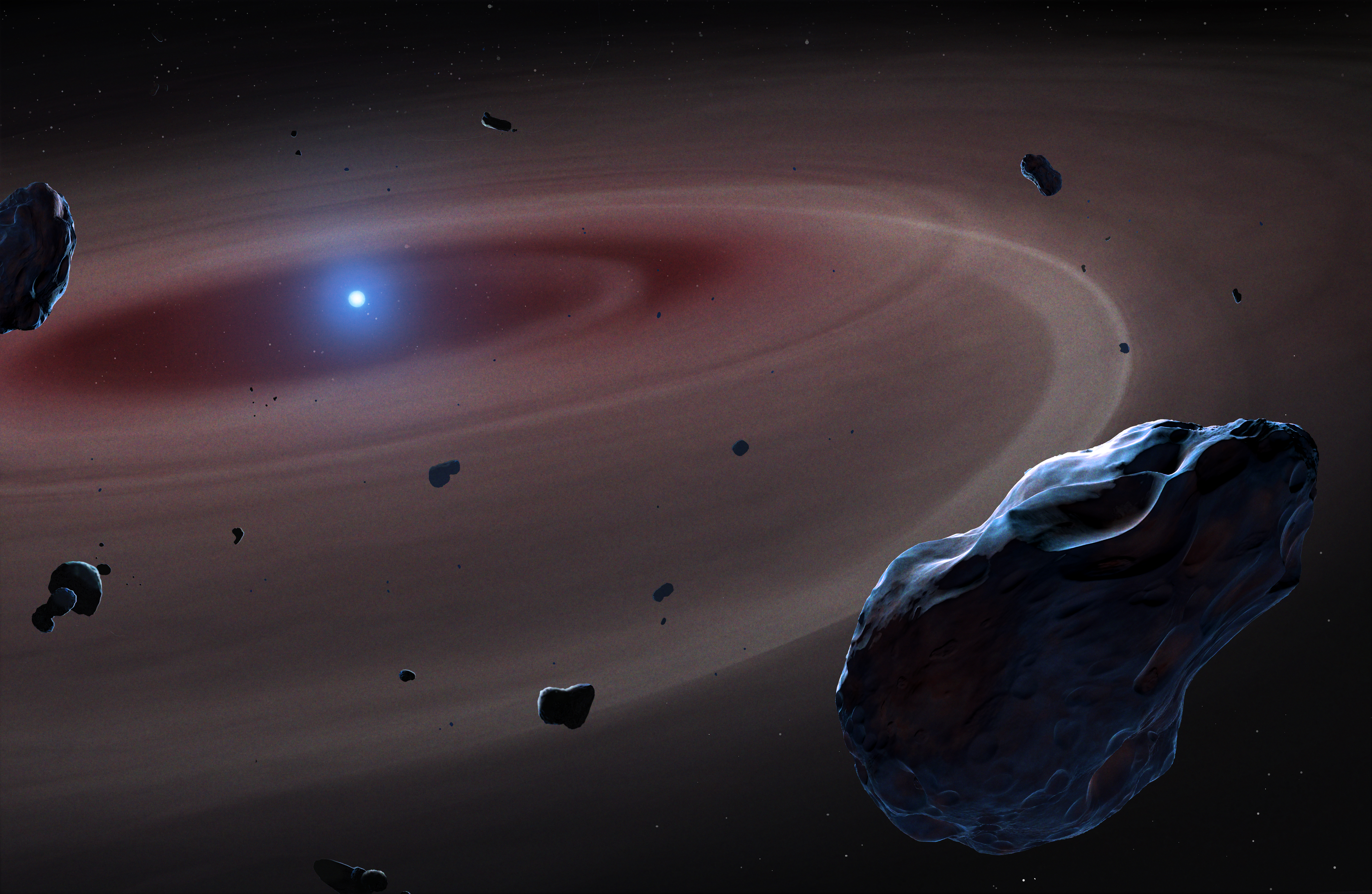 A white dwarf sits in the centre of the remnant of a planetary system.