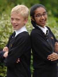 DUX pupils David Lomax and Alisha Hanif from Cardinal Newman School