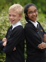 DUX pupils David Lomax and Alisha Hanif from Cardinal Newman School