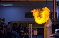 Nick Barker gives a chemistry display. Image credit: King Edward VI College, Nuneaton