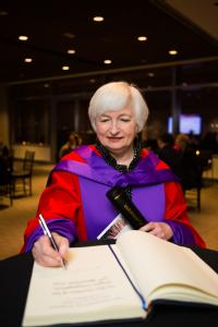 Janet L. Yellen (Chair of the US Federal Reserve System) presented with an Honorary Doctor of Laws (LLD) from the University of Warwick