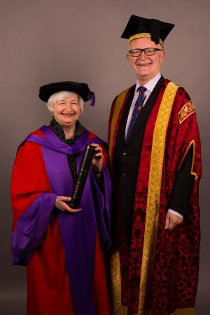 """Professor Sir Nigel Thrift, Vice-Chancellor and President of the UK's University of Warwick, presents Janet L. Yellen (Chair of the US Federal Reserve System) with an Honorary Doctor of Laws (LLD) from the University of Warwick. The event took place on the evening of Thursday 19th November in Washington's Newseum"""