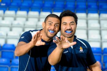 Nile Dacres and Waitu Setu from Coventry RFC rugby team, are sporting Fang-tastic new mouth guards