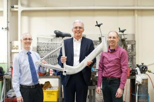 L-R: Left  Scott Crowther, WMG Innovation Manager, University of Warwick; Centre: Adrian Williams, Managing Director –Pashley Cycles; Right: Jeff Beach, Principal Development Engineer – Pashley Cycles.