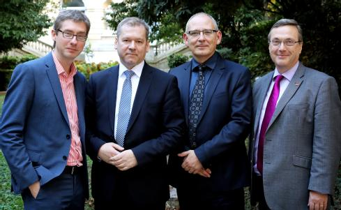 University of Warwick Vice-Chancellor Professor Stuart Croft (Right) meets with L'Université Paris Seine, University of Ljubljana and Vrije Universiteit Brussel (VUB) in Paris