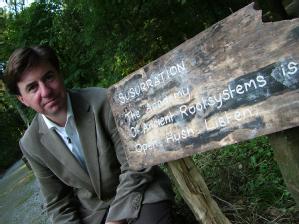 Professor David Morley with 'slow poetry' art trail in Strid Wood