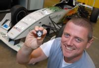 Dr Kerry Kirwan University of Warwick car & Blue Peter Badge
