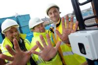 Robert Senior (Site Engineer), Phil Bardsley (Section manager) and Rodney Holland (Managing Director of the equipment's Installation Company - DCS) Builders showing  abraded finger pints which Warwick Warp BioLog equipment copes with - in use on a Coventry building site