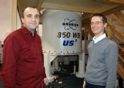Dinu Iuga and Professor Steven Brown with the 850 MHz NMR