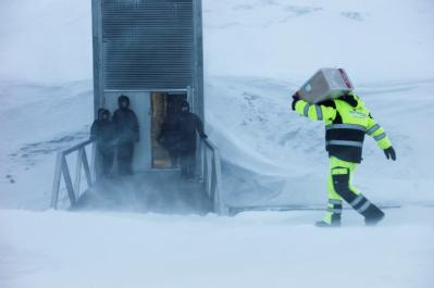 A delivery being made to the Svalbard Global Seed Vault