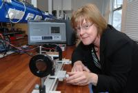Professor Pam Thomas - University of Warwick-  with the Zero-Birefringence Optical Temperature Sensor