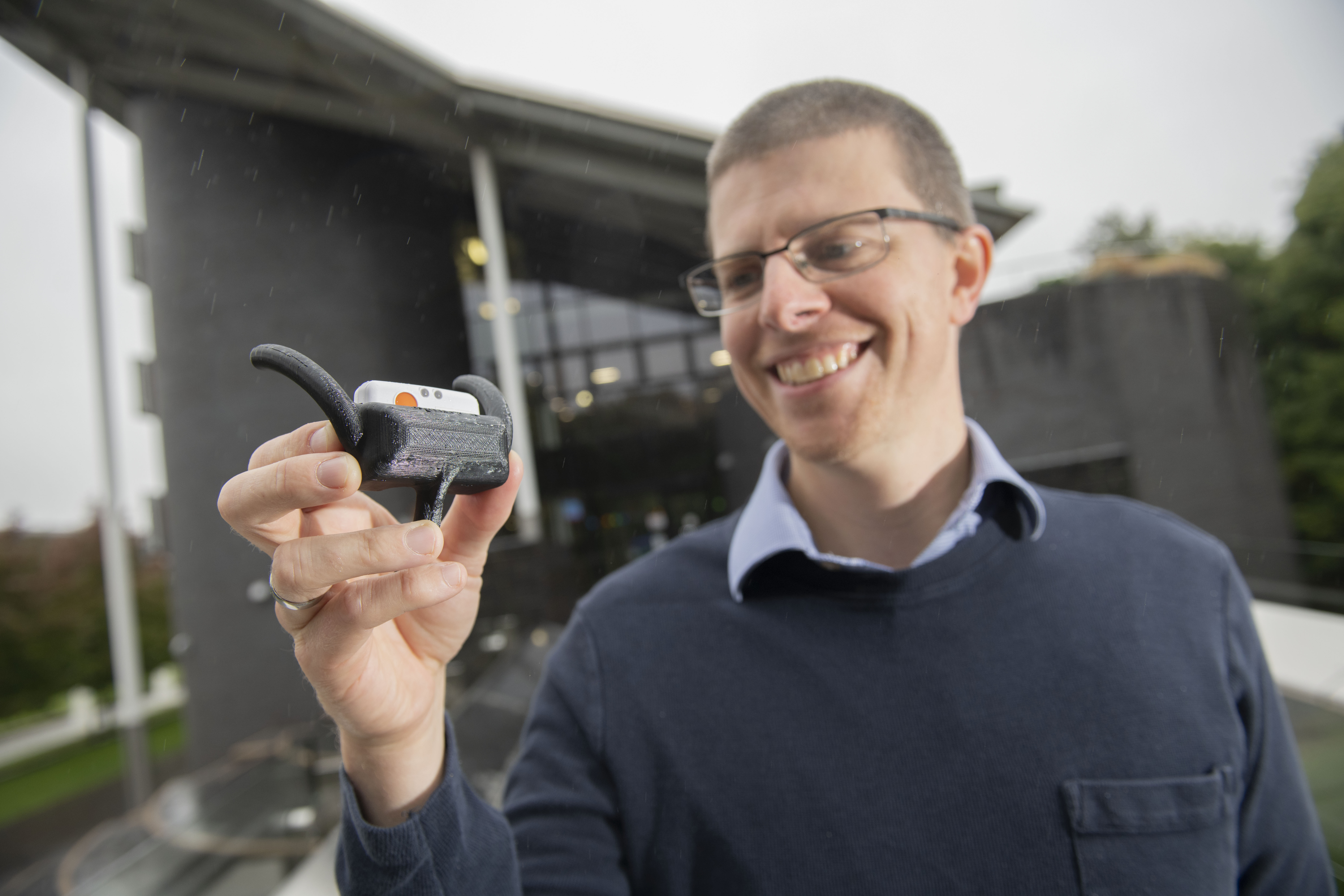 Dr Mark Elliott with an early prototype of the device