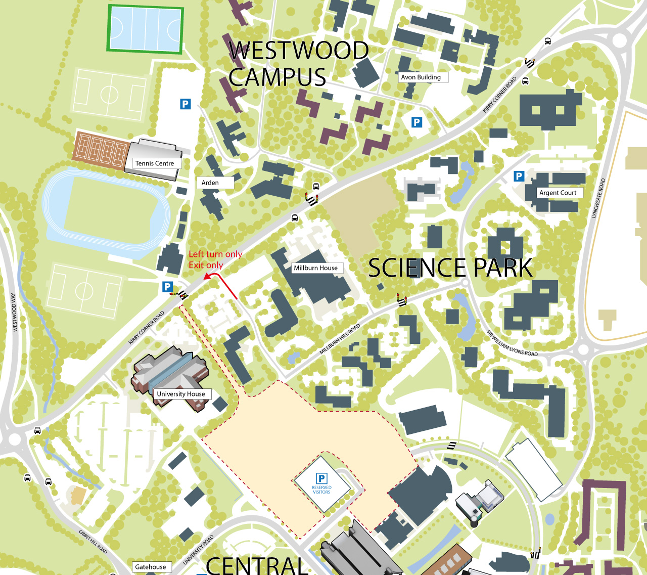 Map of the location of the new Science Park exit