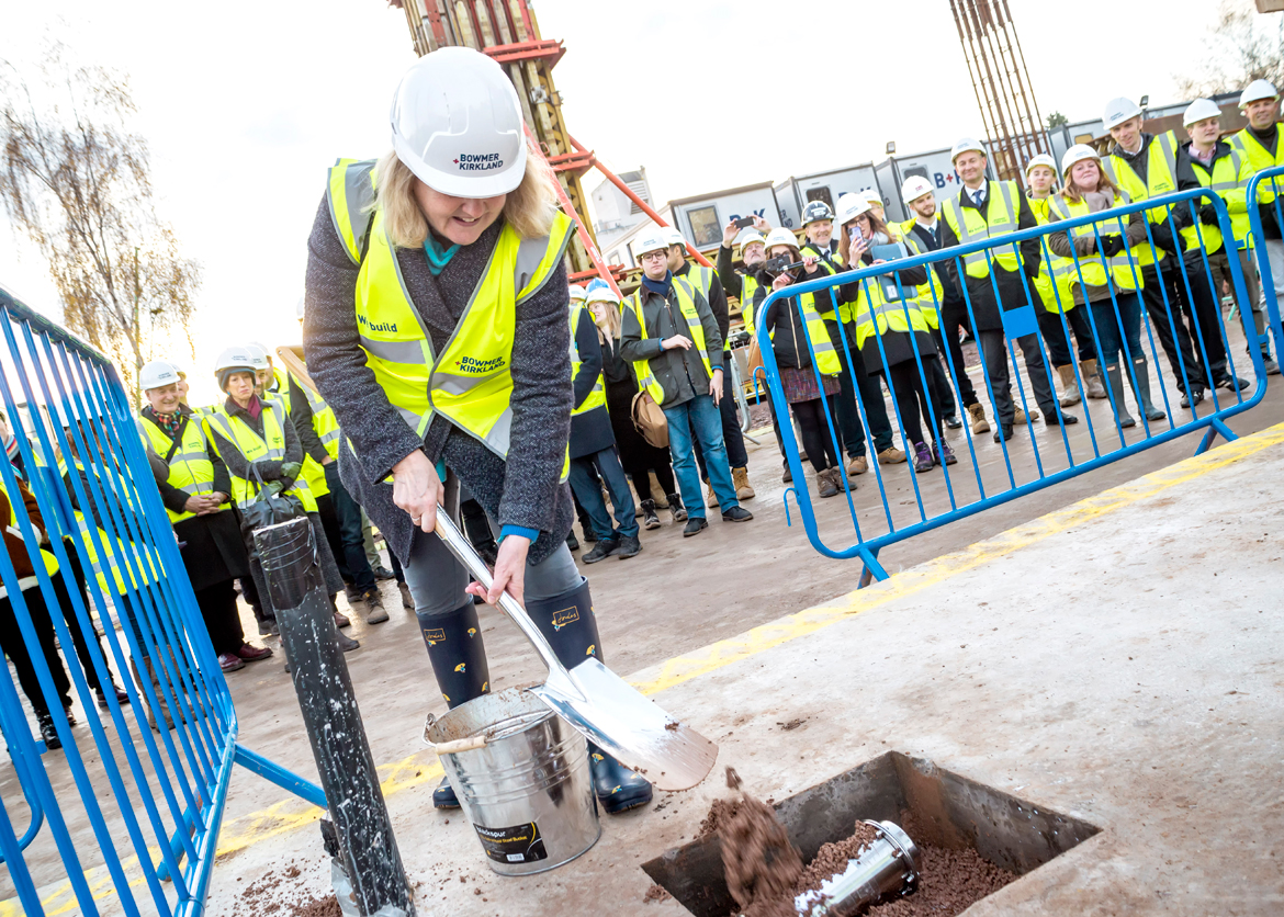 The time capsule being buried at the ceremony.