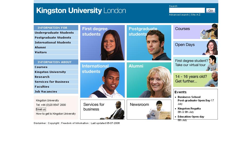 its web team university home page project kingston university