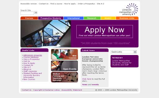 Its web team university home page project london metropolitan