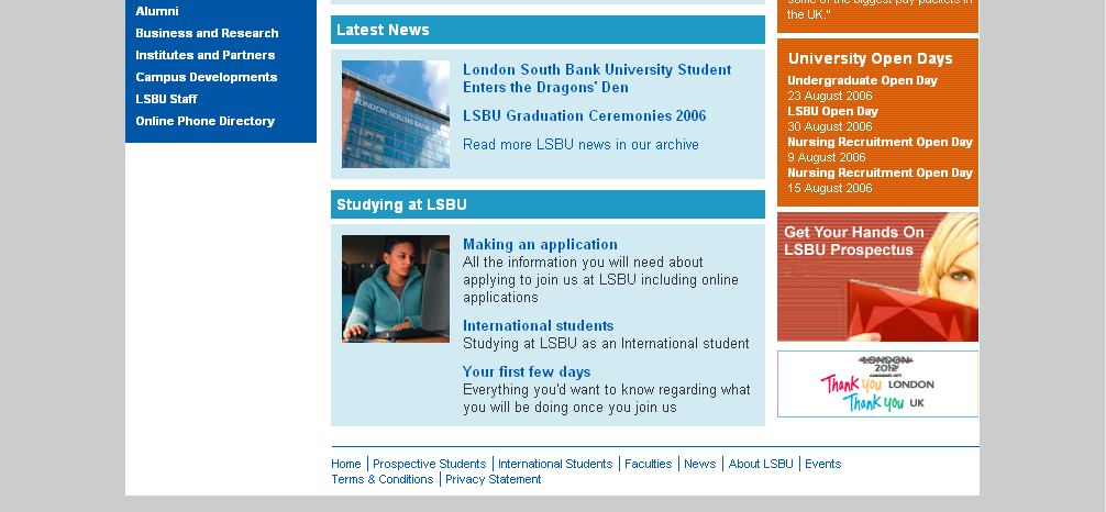 Its web team university home page project london south bank
