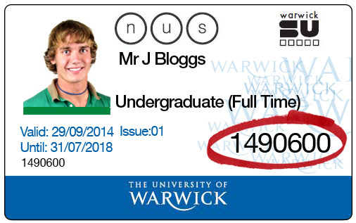 Sample University card with seven-digit ID highlighted