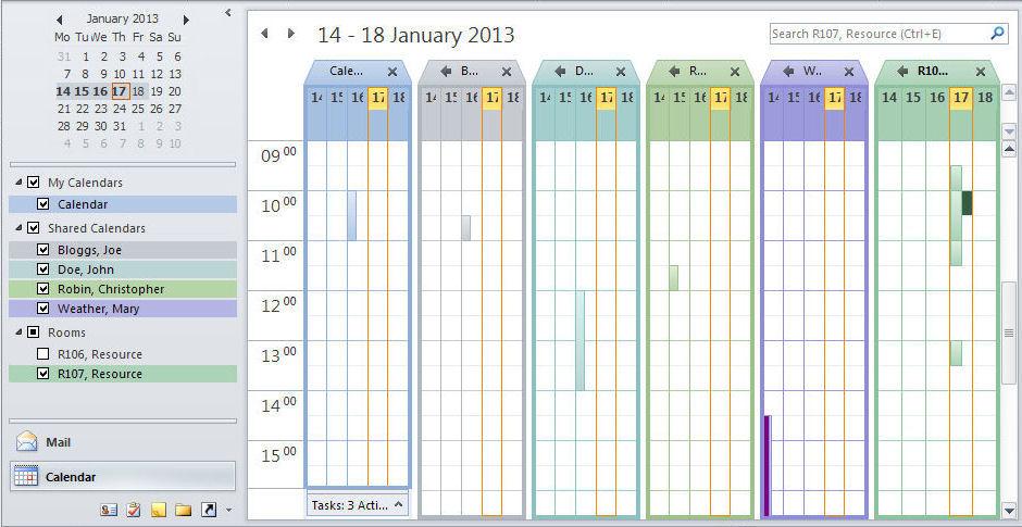 Viewing multiple calendars - Outlook 2010