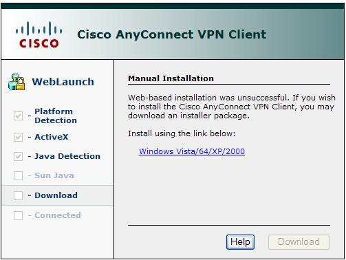 Cisco AnyConnect VPN Client Manual Install