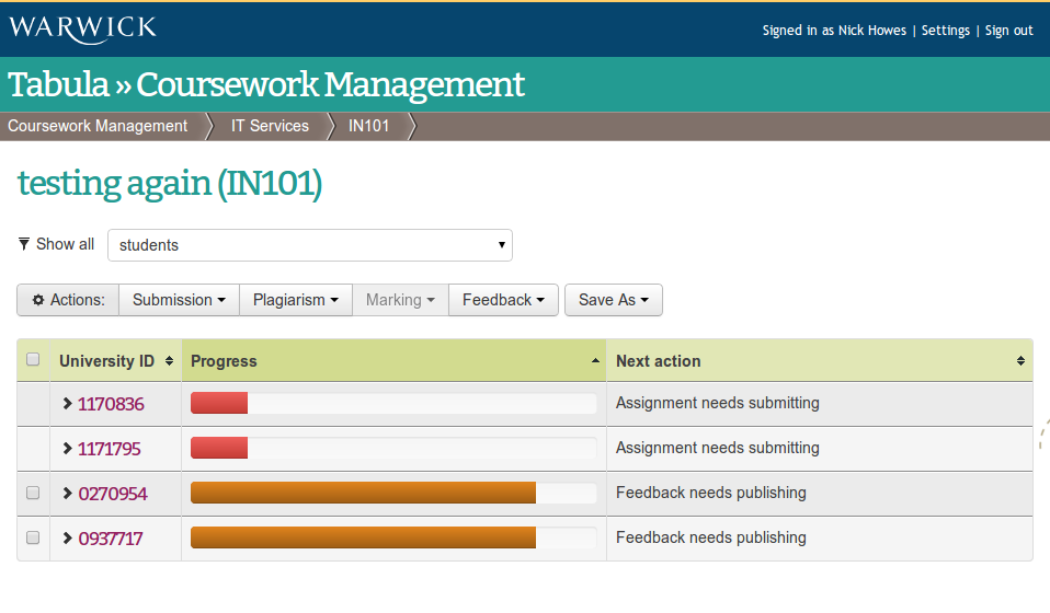 warwick tabula coursework management Tabula is a tool to support the administration of teaching and learning in  such  as coursework management, seminar allocation and attendance recording.