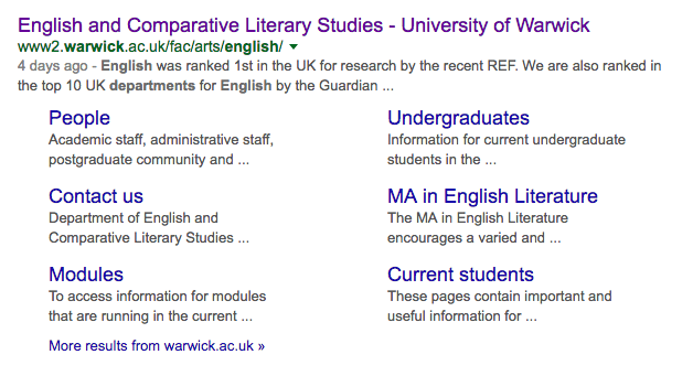 Sitelinks in Google search results for Department of English