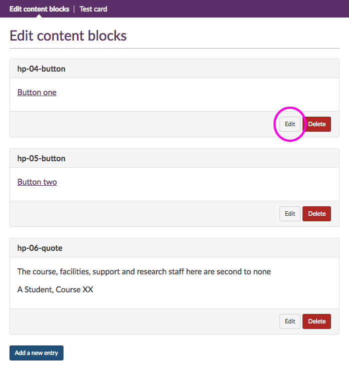 Edit content block button highlighted