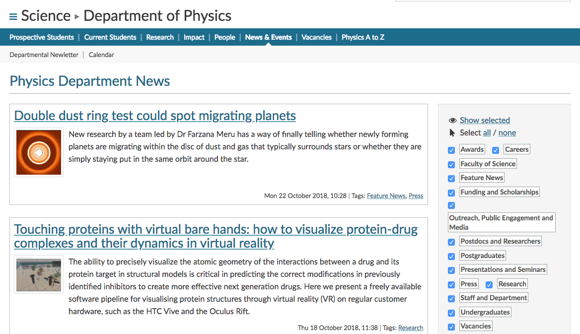 Department of Physics news page