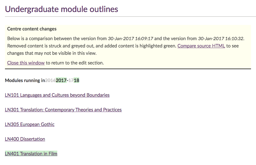 Modules list shows the text added and deleted in the most recent edit