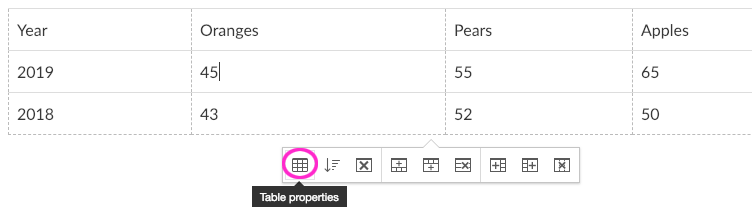 Table properties button