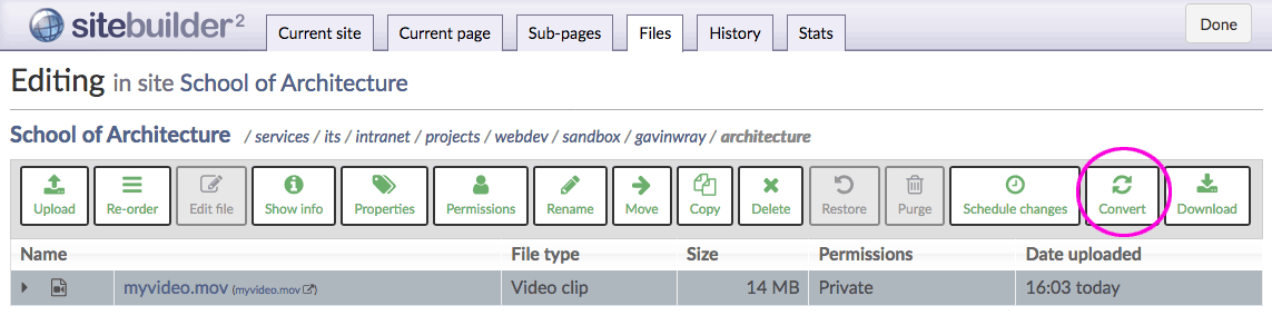 Convert button on Files tab