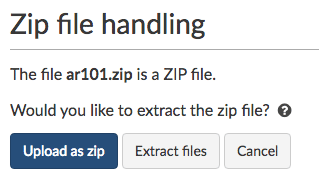 Extract files or upload as a .zip